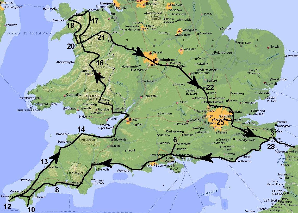 Cartina Cornovaglia.Cornovaglia Galles E Londra 08 2013