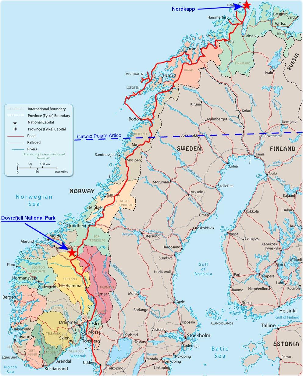 Cartina Stradale Norvegia.Norvegia 2018